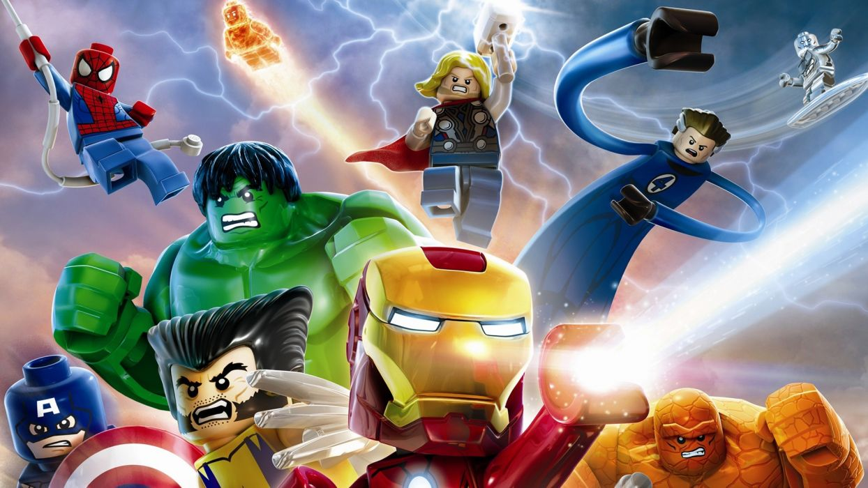 Avengers Marvel Lego Hulk The Hulk Wolverine Iron Man The Thing Captain America Fantastic Four Silver Surfer Mr Fantastic Thor Human Torch Spider-Man wallpaper