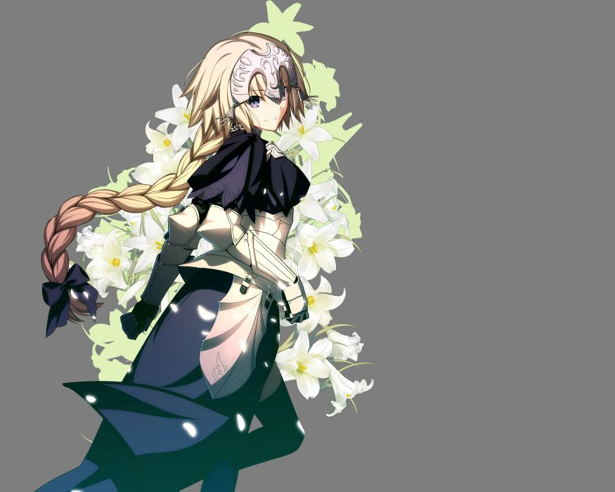 fate stay night armor blonde hair braids fate apocrypha flowers jeanne d'arc (fate apocrypha) long hair takeuchi takashi transparent vector wallpaper