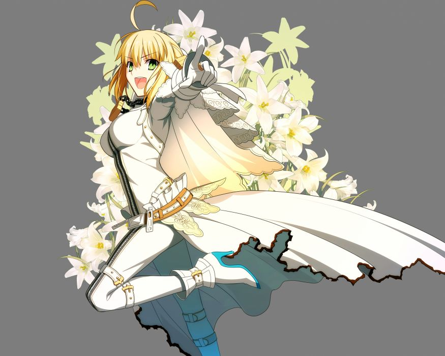 fate stay night blonde hair fate extra fate extra ccc fate stay night flowers green eyes saber bride saber extra takeuchi takashi transparent vector wallpaper