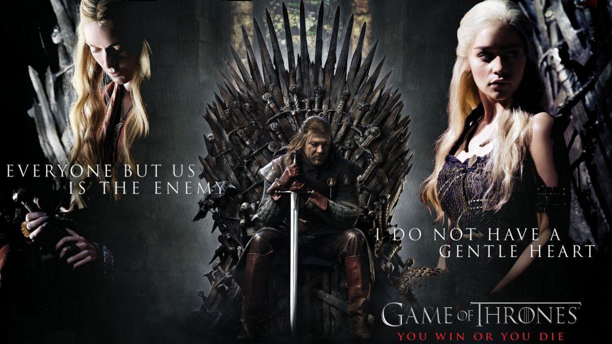 Game of Thrones Daenerys Targaryen Blonde Emilia Clarke Sean Bean Ned Stark Throne Sword wallpaper