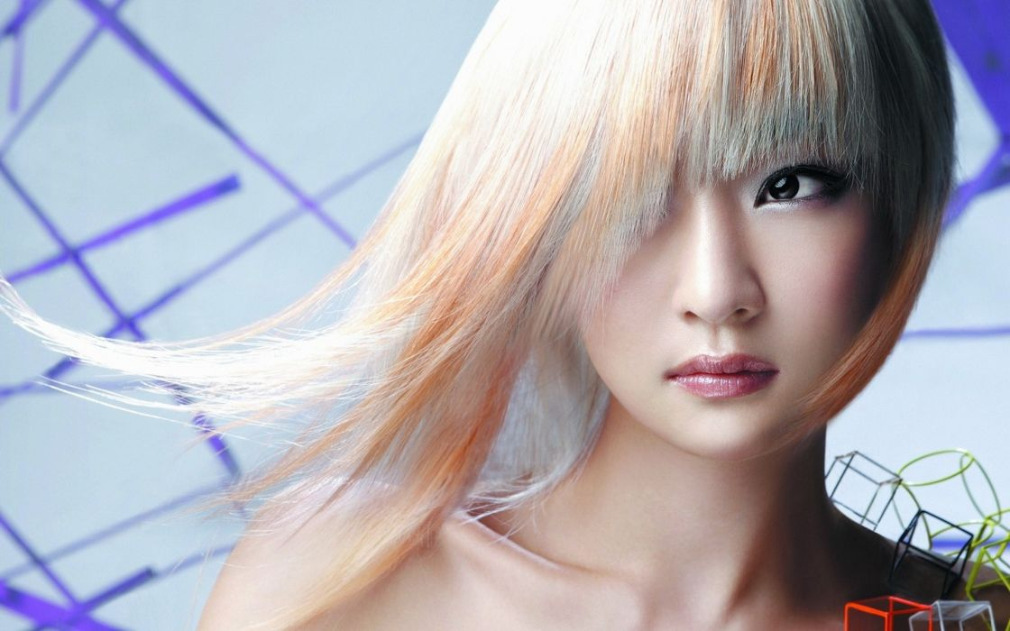 blondes models long hair asians faces hair in face bangs hairstyle Hot Girls Asians wallpaper