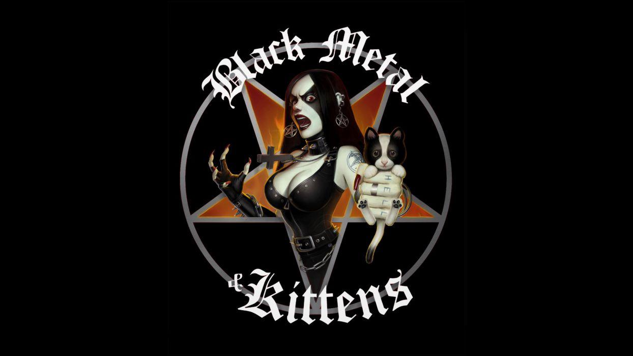 goth tattoo girl kitty black metal heavy dark wallpaper