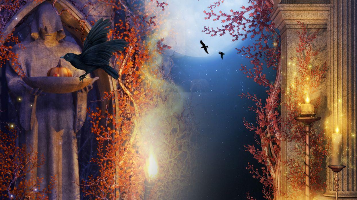 Gothic Autumn halloween dark wallpaper