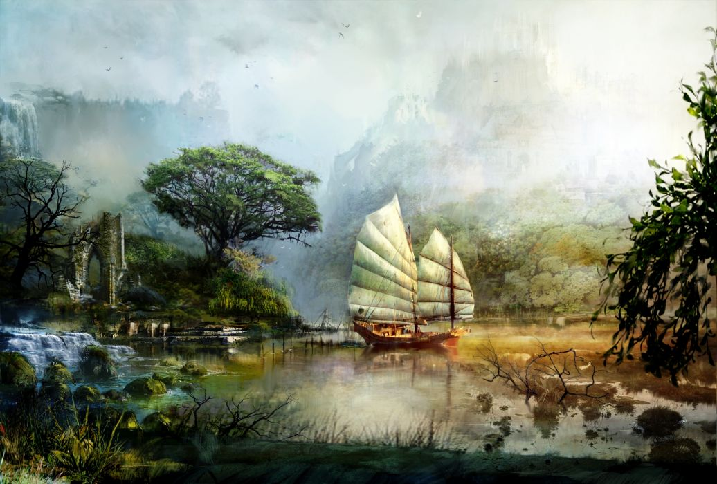 Art  Guild Wars  2  ship  sailing  scenery  mountains  lake  water  ruins fantasy wallpaper