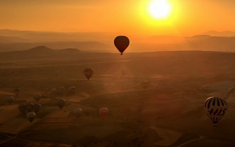 balloons sunset sports landscape wallpaper