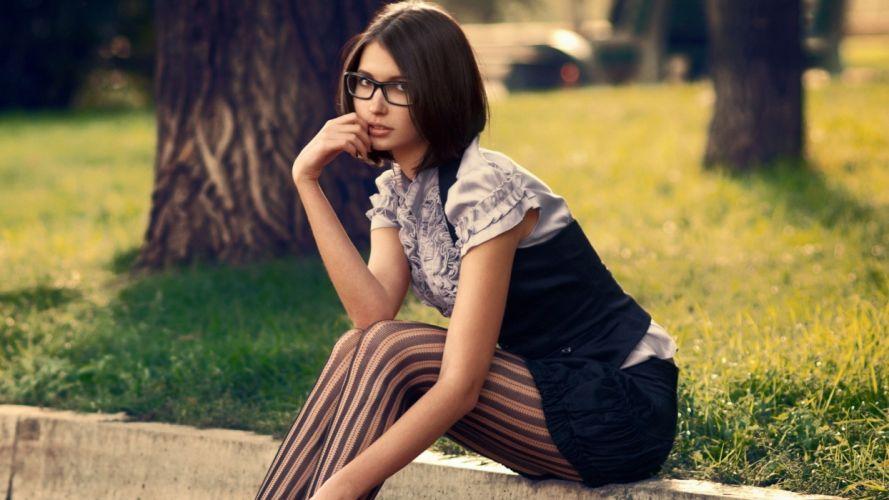 brunettes legs women stockings models glasses park wallpaper