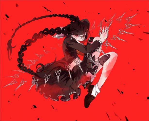 dangan-ronpa black hair braids dangan-ronpa fukawa touko glasses qinnye red red eyes wallpaper