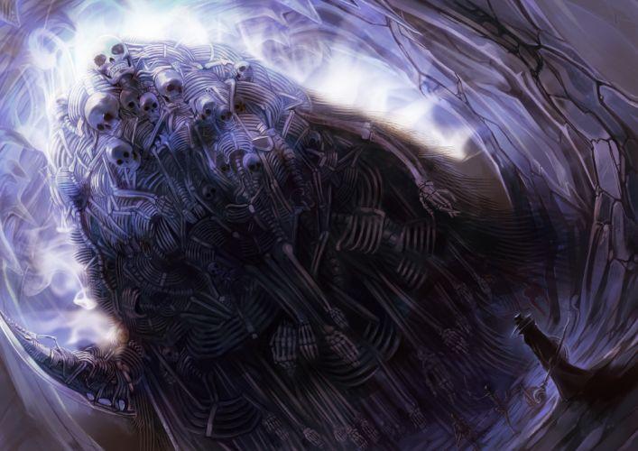 Dark Souls Nito Drawing Purple evil skull skeleton wallpaper