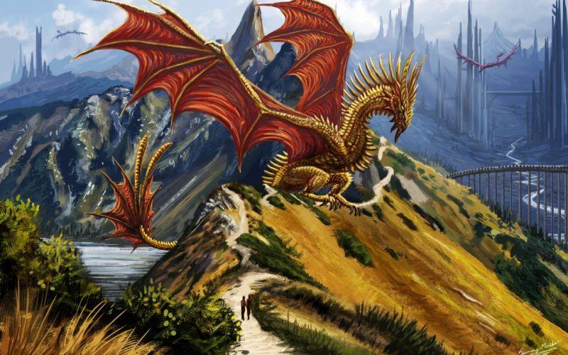 dragons fantasy art artwork Abstract Fantasy dragon f wallpaper