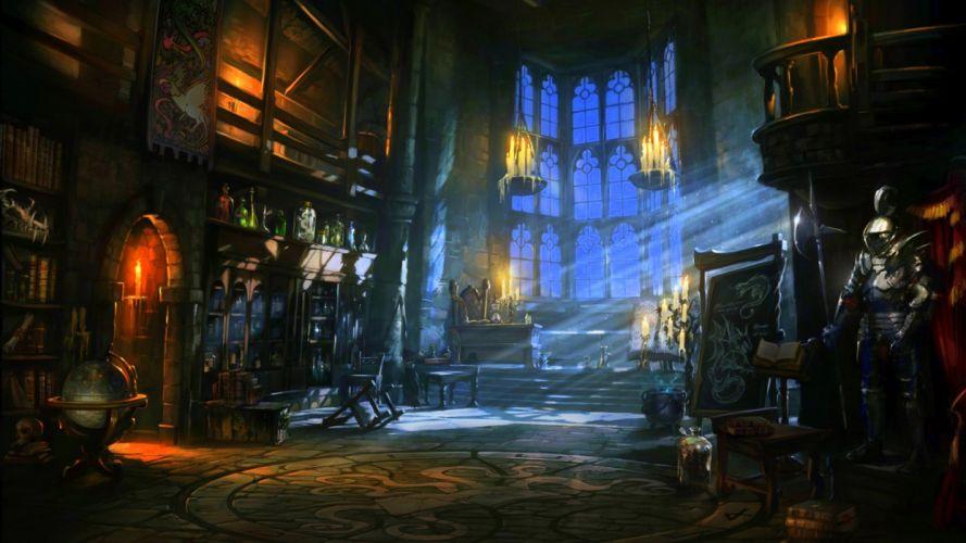fantasy castle room dark wallpaper