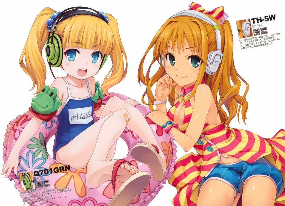 idolmaster headphones hiiro yuki hino akane (idolmaster) idolmaster idolmaster cinderella girls loli mary cochran school swimsuit swimsuit wallpaper