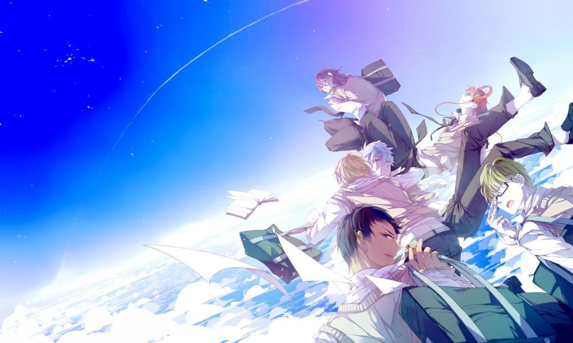 kuroko no basket akashi seijuurou aomine daiki book clouds headphones kise ryouta kuroko no basket kuroko tetsuya male midorima shintarou paper qinnye seifuku sky wallpaper