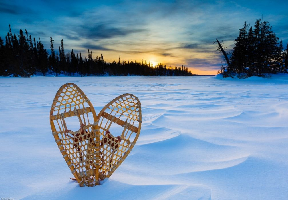 Lake Superior sunset snow snowshoes winter wallpaper