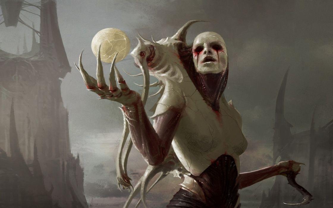 magic the gathering artwork suchre priest Abstract Art dark horror blood fantasy wallpaper