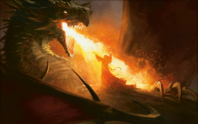 Magic The Gathering Drawing Dragon Seething Song Fire wallpaper
