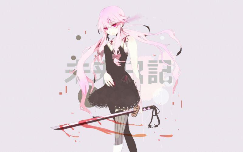 mirai nikki blood dress gasai yuno katana long hair mirai nikki pink eyes pink hair sword thighhighs twintails weapon wallpaper