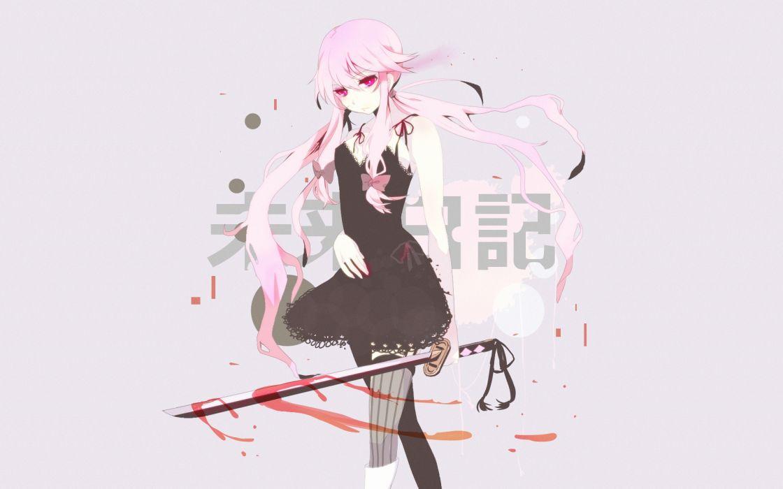 Mirai Nikki Blood Dress Gasai Yuno Katana Long Hair Pink Eyes Sword