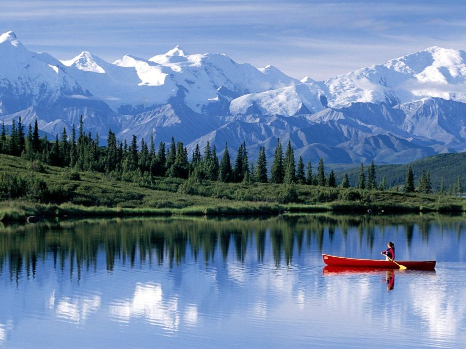 mountains landscapes nature snow trees forest lakes canoe reflections 1600x1200 wallpaper Sports Canoeing wallpaper