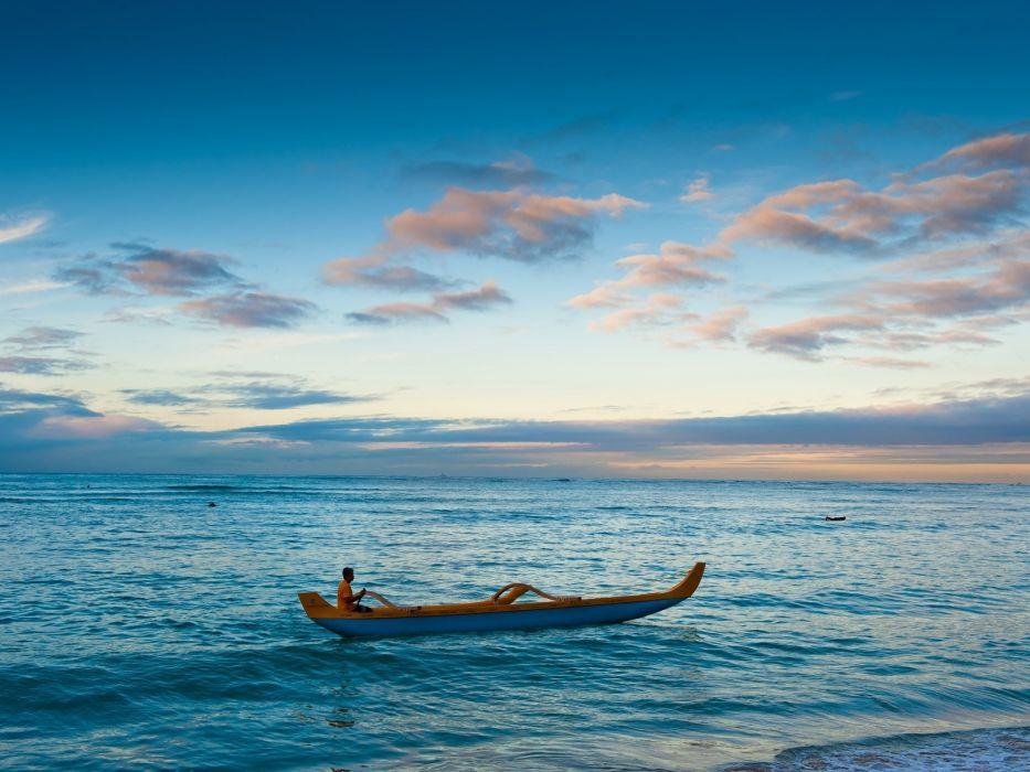 ocean canoe oahu 1600x1200 wallpaper Sports Canoeing wallpaper