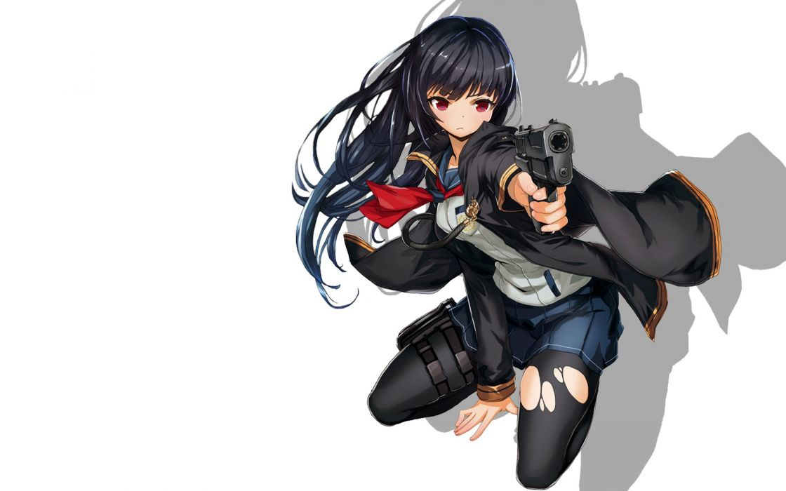 original black hair gun long hair original pantyhose red eyes saitom seifuku skirt torn clothes weapon wallpaper