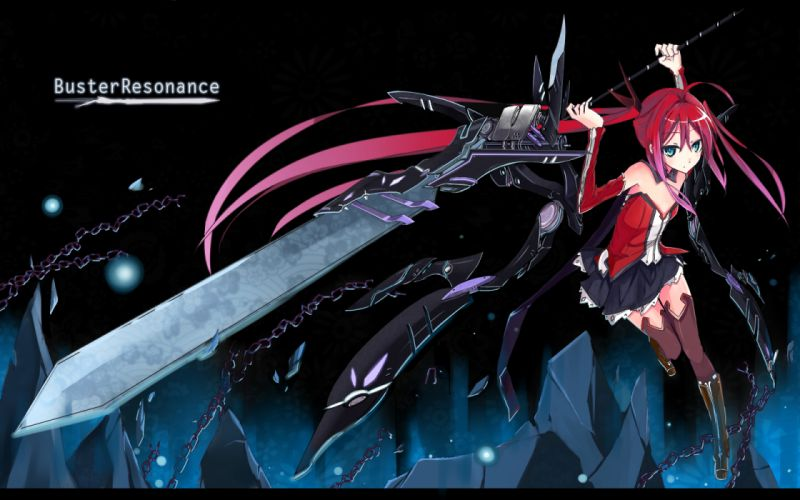 original blue eyes chain kami yuuyako original red hair sword twintails weapon wallpaper