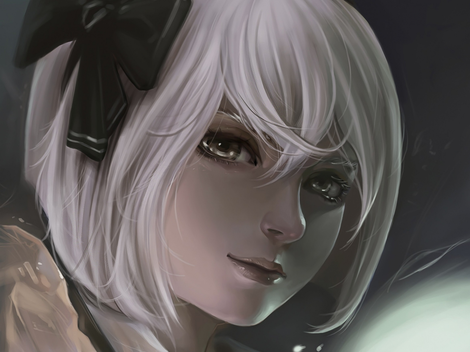 Original short hair artwork white hair anime girls - Abstract anime girl ...