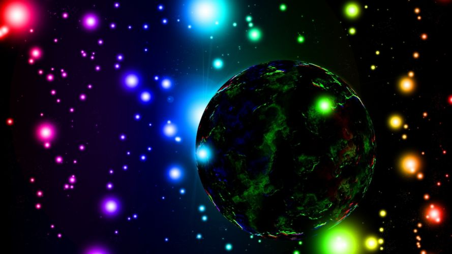 outer space science fiction planet bokeh wallpaper
