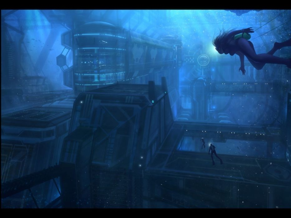 paintings science fiction underwater Industry wallpaper