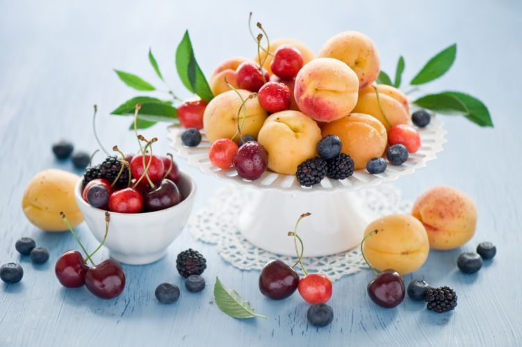 peaches cherries blueberries blackberries apricots fruit berries wallpaper