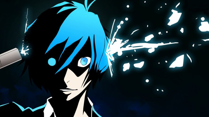 persona arisato minato blue eyes gun jpeg artifacts persona weapon wallpaper