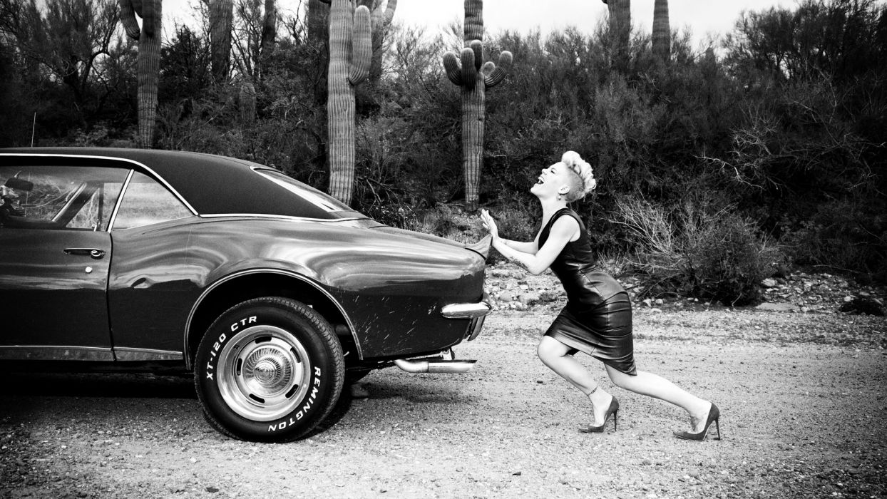 Pink B-W Classic Car Classic Chevrolet Camaro Dress Cactus Push muscle hot rod rods wallpaper