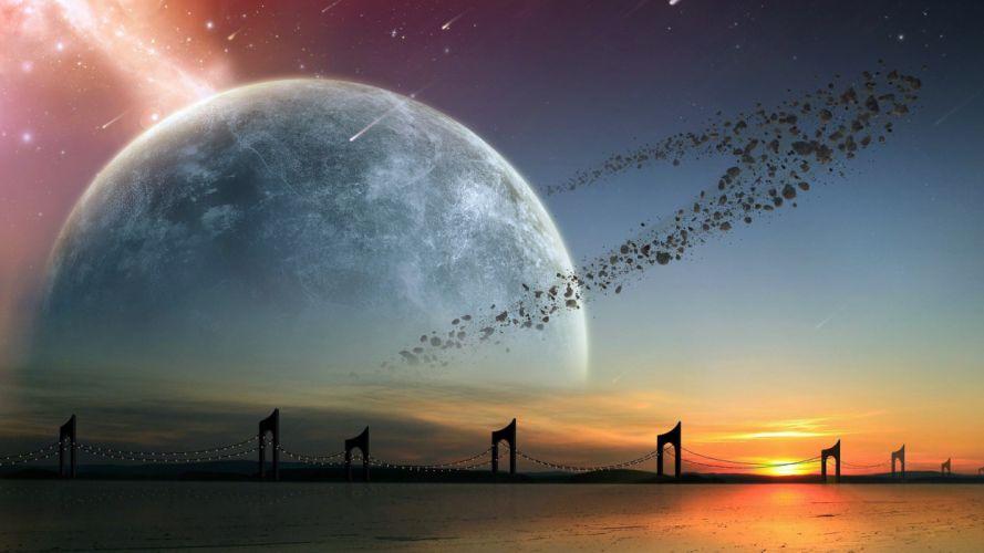 Planet asteroid belt bridge arch wallpaper