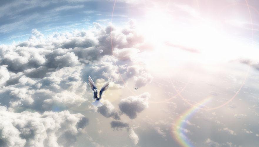 Art Nyarko sky birds clouds sun wallpaper