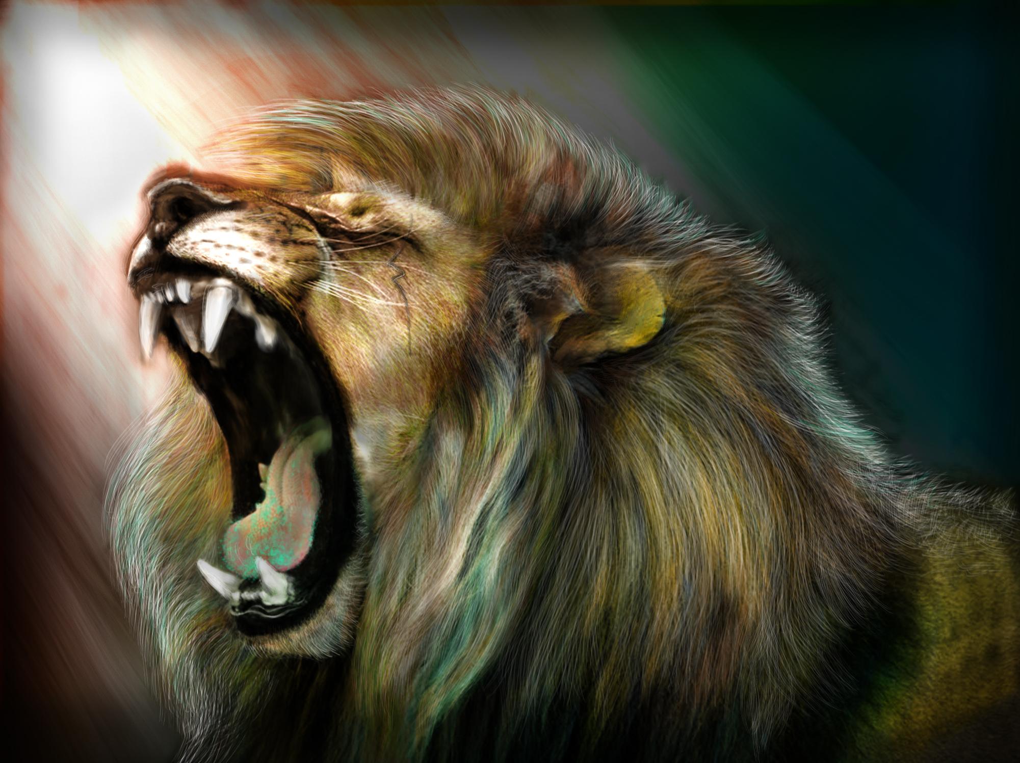 Image Of A Roaring Lion Dowload: Art Lion Roar Wallpaper