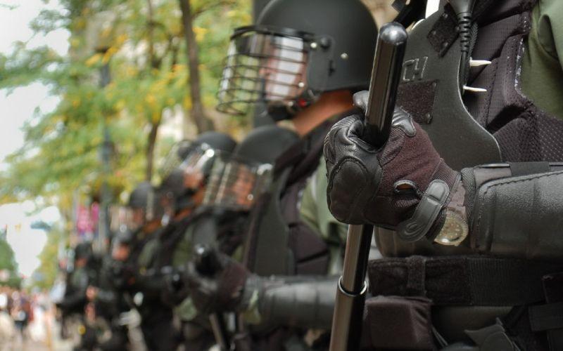 Riot police baton city anarchy wallpaper