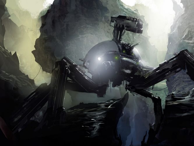 robot science fiction wallpaper