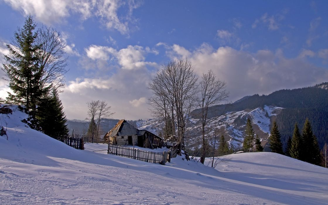 Romania winter snow house trees mountains landscape wallpaper