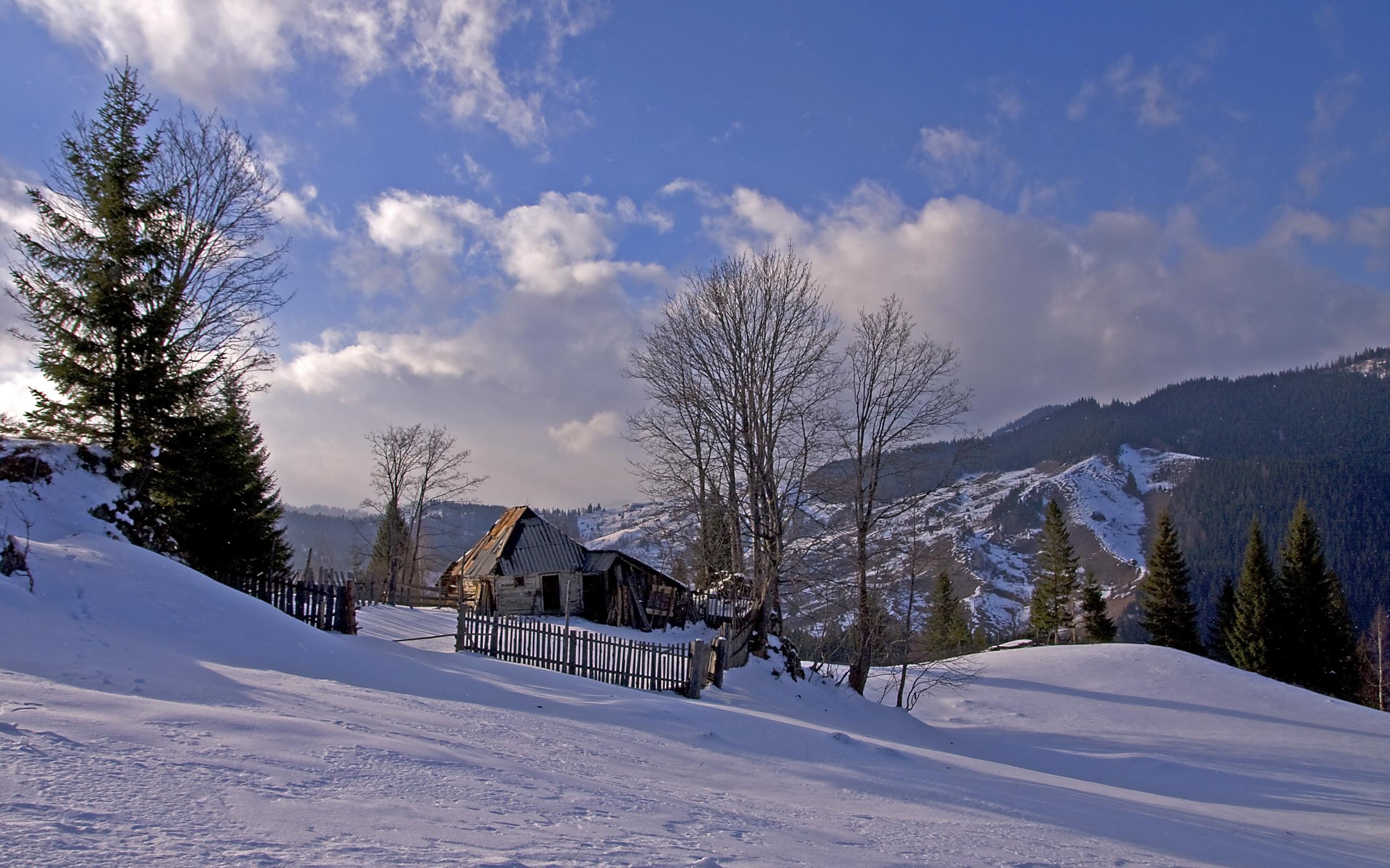 Romania Winter Snow House Trees Mountains Landscape