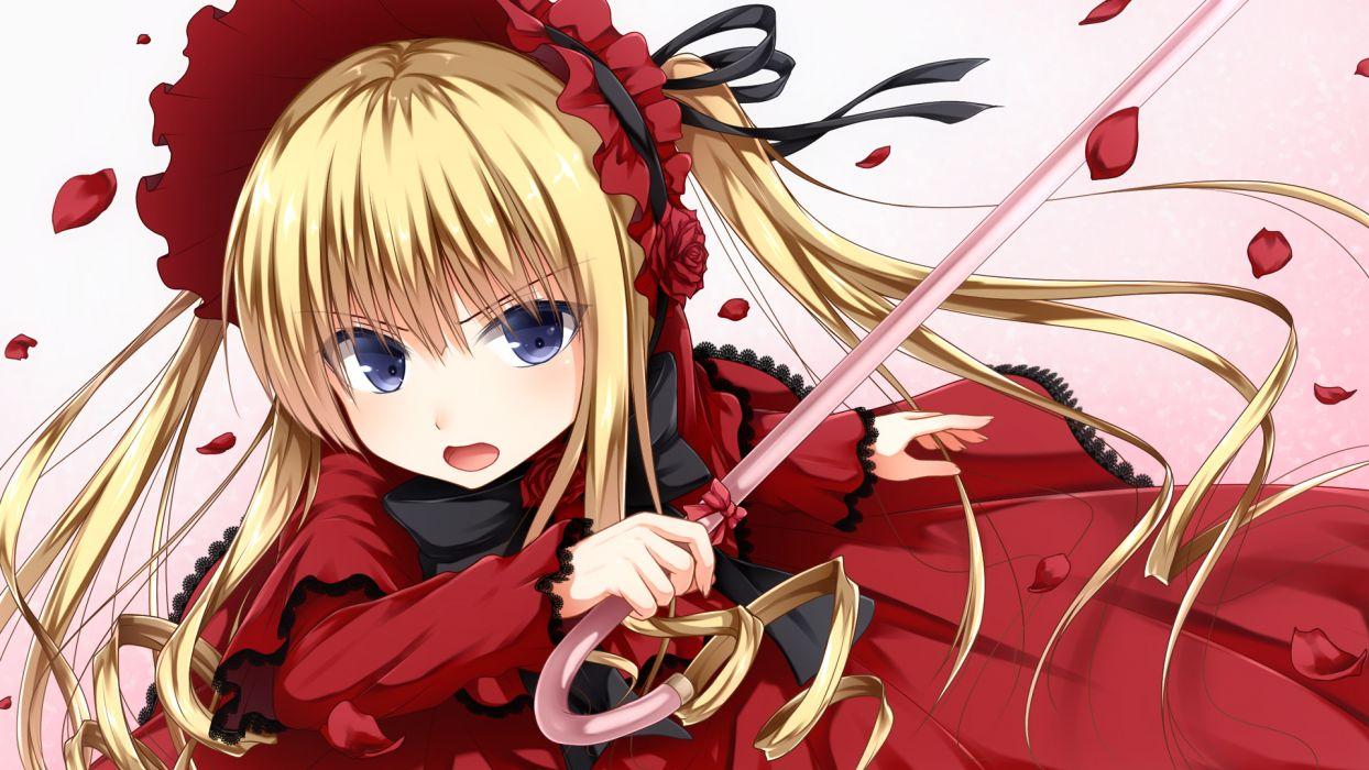 Rozen Maiden Blonde Hair Blue Eyes Dress Flowers Haryuu Poetto