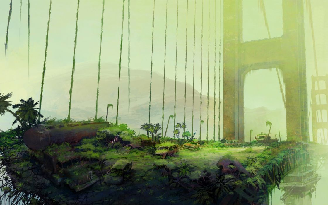ruins art bush bridge fantasy post apocalypse apocalyptic wallpaper