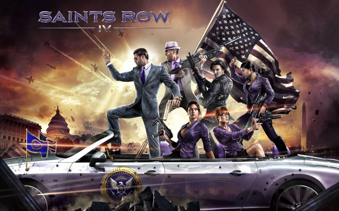 Saints Row IV cars weapons flag wallpaper