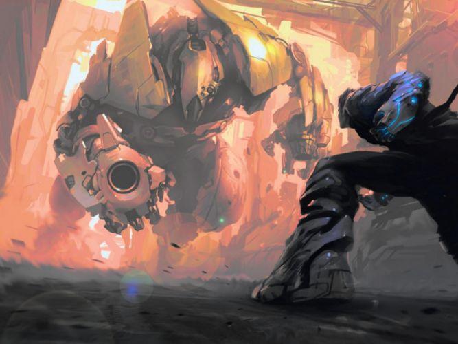 sci-fi mecha battle robot warrior wallpaper
