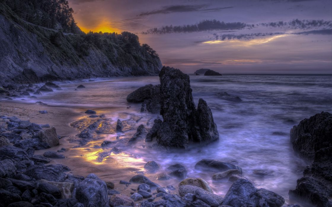 sea aeYaeY night  rocks  nature hdr wallpaper