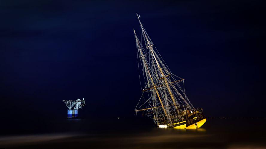 sea aeYaeY ship night landscape wallpaper