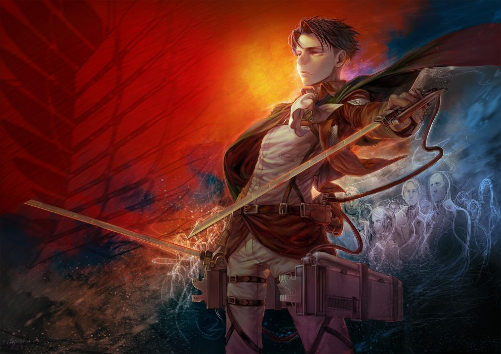 shingeki no kyojin auruo bossard b_c_n_y_ cape erd gin gunter shulz petra ral red eyes rivaille shingeki no kyojin short hair sword uniform weapon wallpaper
