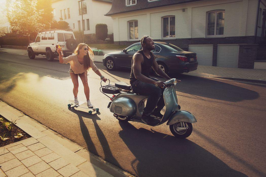 skate road black girl guy skateboard scooter mood wallpaper