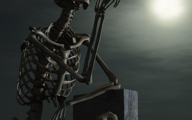 Skeleton darkness night cigarette wallpaper