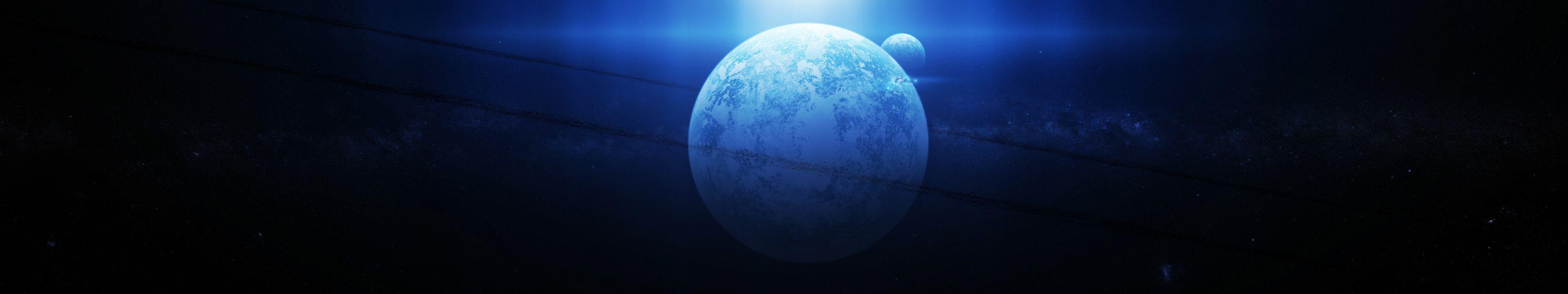 space art rings planet multi dual wallpaper