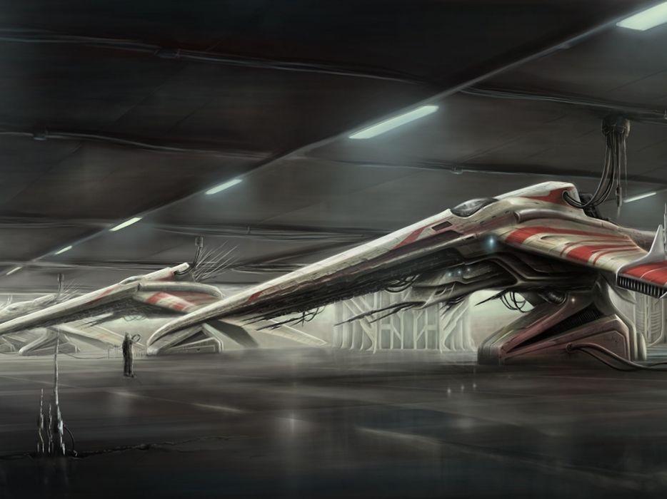 spaceship science fiction artwork hangar Industry wallpaper