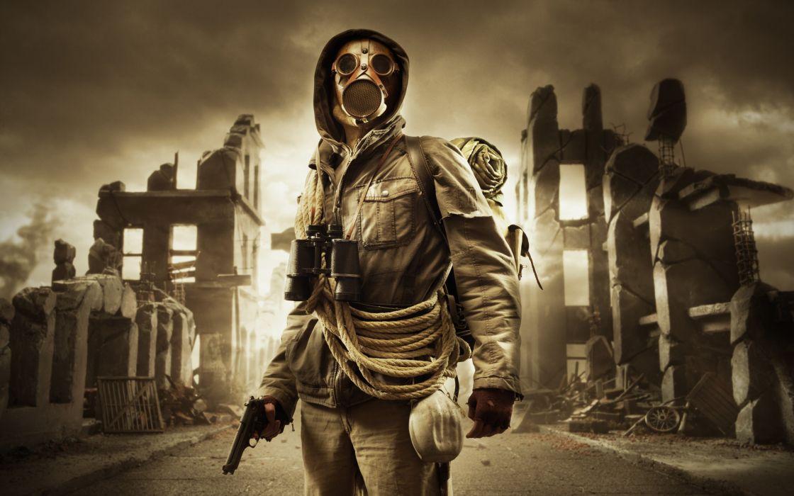 Stalker ruins gas mask rope sky dark wallpaper